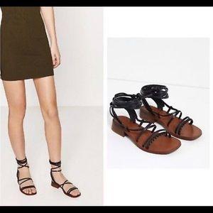 Zara 100% Leather Tie up Gladiator Sandals EUR 39